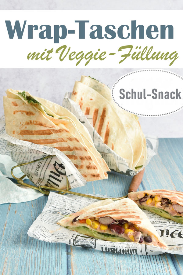 Wrap Taschen mit Veggie Füllung: Salat, Bohnen, Mais, Paprika, Avocado, Käse, vegetarisch, vegan möglich, Lunch Box, Schul Snack, schmeckt warm und kalt
