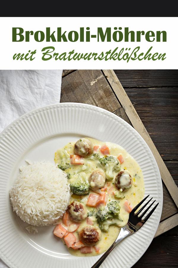 Brokkoli und Möhren in einer Frischkäsesoße mit Bratwurstklößchen dazu Reis, Thermomix, vegetarisch, vegan möglich, Familienküche, Mittagessen, schnell und einfach