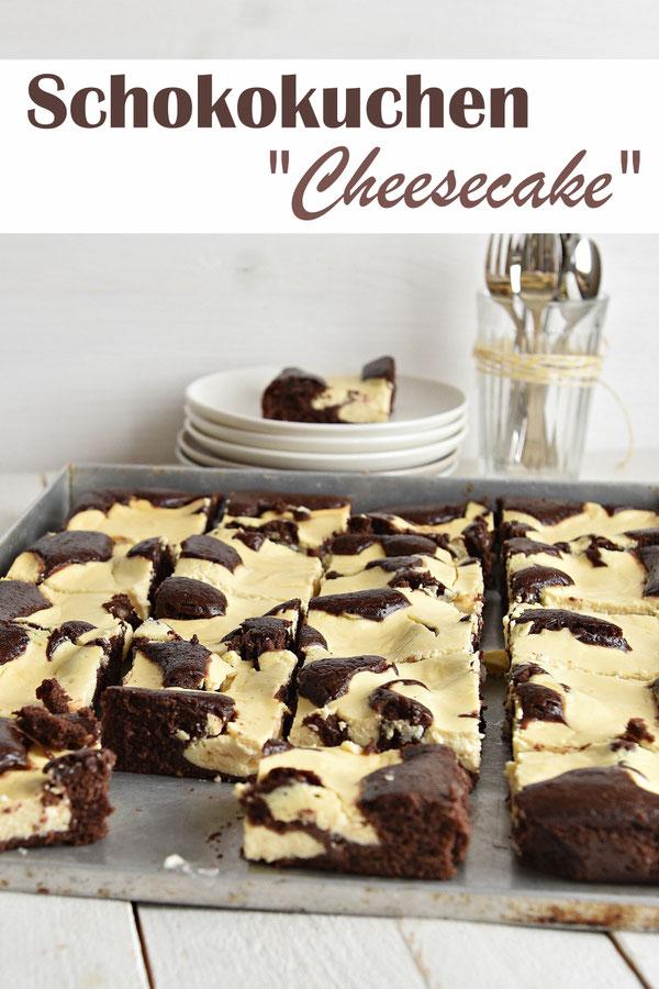 Schokokuchen Cheesecake - unten ein Schoko-Rührteig, oben drauf in Klecksen eine Quark-Masse, vegan machbar, Thermomix