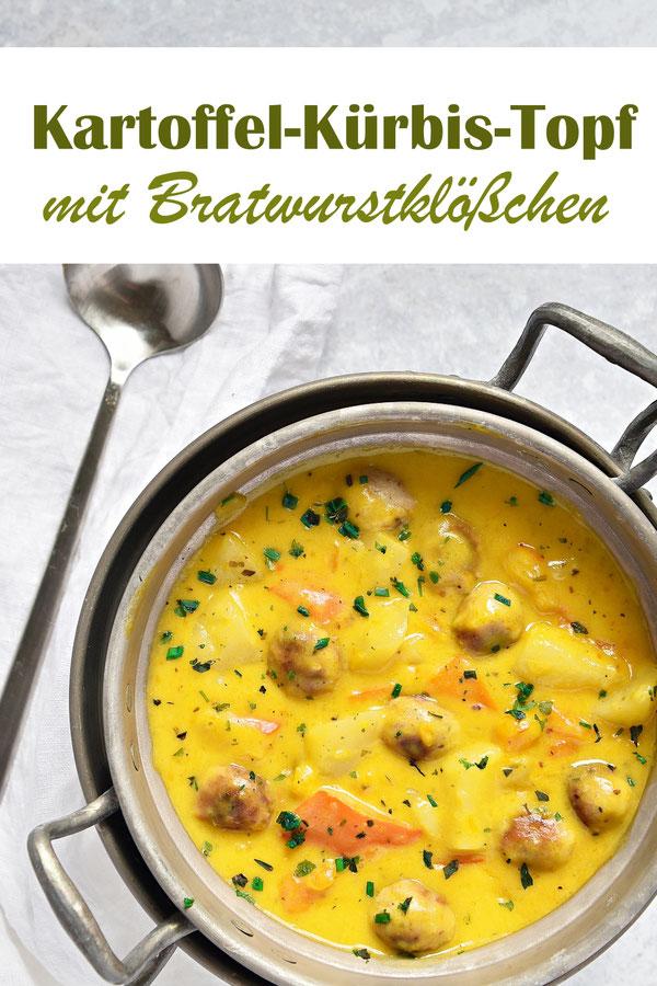 Kartoffel-Kürbis Topf mit Bratwurstklößchen, vegan, vegetarisch oder mit echten Würstchen, Thermomix, Herbst, Familienküche