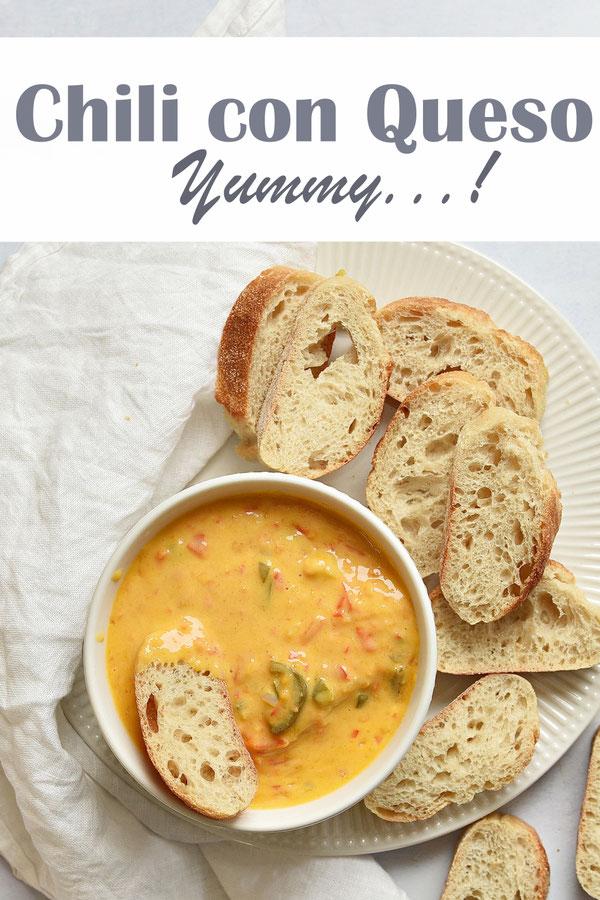 Chili con Queso, warmer Käsedip zu Baguette, vegan möglich, mit Paprika und Jalapenos, Thermomix