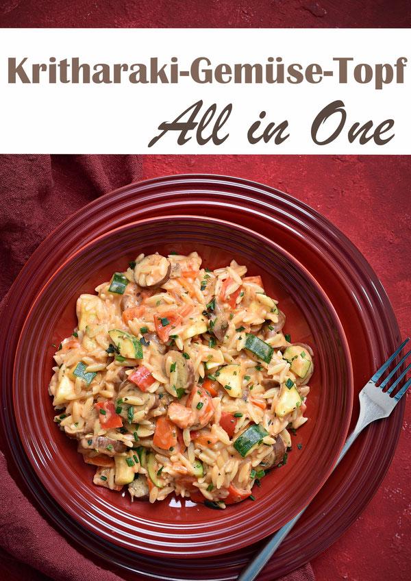 Kritharaki Gemüse Topf mit Aubergine, Zucchini und Paprika, sowie Tomatenmark, Kräutern, Frischkäse, vegan möglich, vegetarisches ruck zuck Mittagessen für die Familie, Thermomix, all in one
