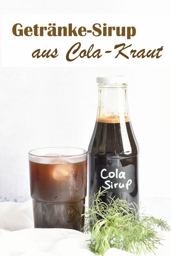 Cola Kraut Sirup zum Mischen in kohlensäurehaltiges Mineralwasser, z.B. Soda Stream, geschmacklich nicht identisch mit Coca Cola oder Pepsi, eher so Richtung Mezzomix, dennoch sehr lecker, Thermomix Rezept