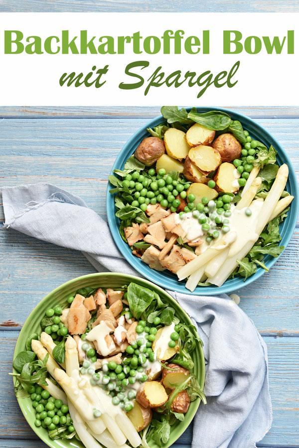 Backkartoffel Bowl mit Spargel, Erbsen, Hähnchen oder Ersatzfleisch für Huhn, Soße mit Zitrone, aus dem Thermomix, Familienküche, Mittagessen, vegetarisch, vegan machbar