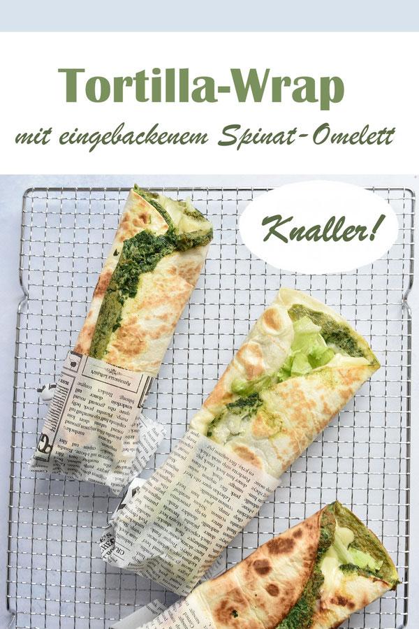 Tortilla Wrap mit eingebackenem Spinat-Omelette, einfach und schnell zu machen und richtig lecker, weil es durch das Omelette so schön saftig ist, vegetarisch