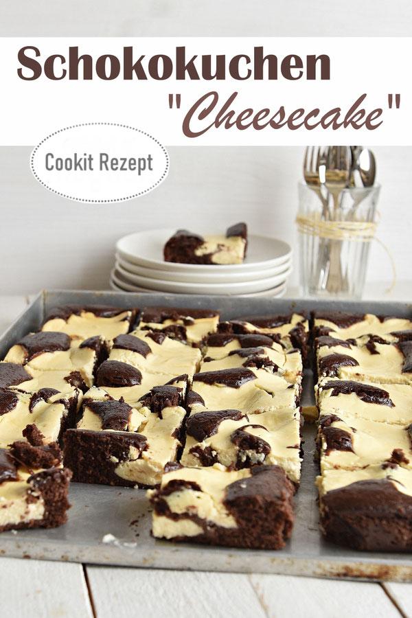 Schokokuchen Cheesecake - unten ein Schoko-Rührteig, oben drauf in Klecksen eine Quark-Masse, vegan machbar, Cookit