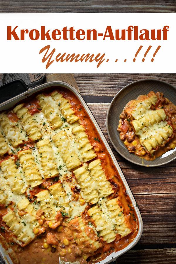 Kroketten Auflauf mit einem Hack-Bohnen-Gemüse, vegetarisch und vegan machbar, siehe Rezept, Mittagessen, Familienküche, Thermomix