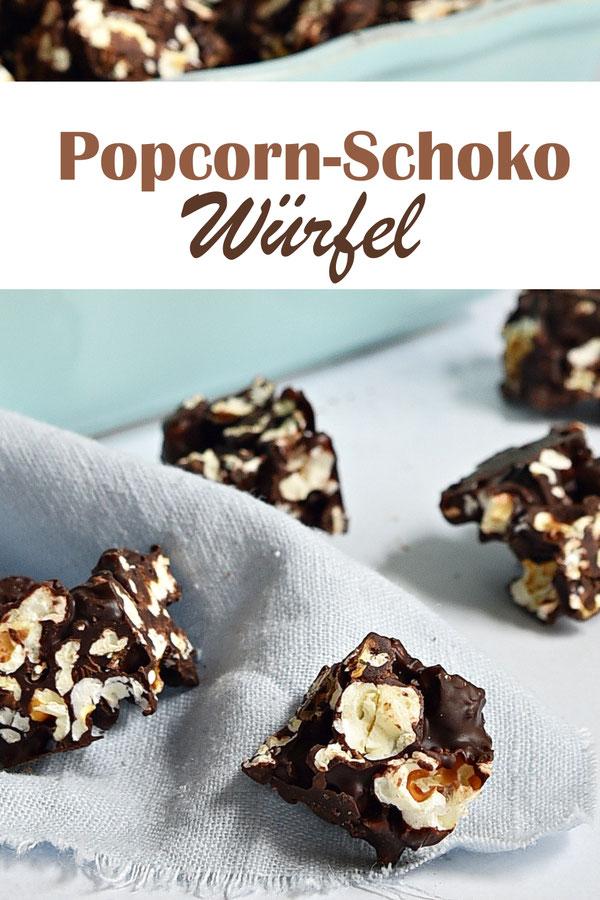 Popcorn Schoko Würfel, Popcorn mit geschmolzener Schokolade vermischen, auf einem Backblech ausbreiten, trocknen lassen und in kleine Würfel schneiden, Schokolade im Thermomix geschmolzen