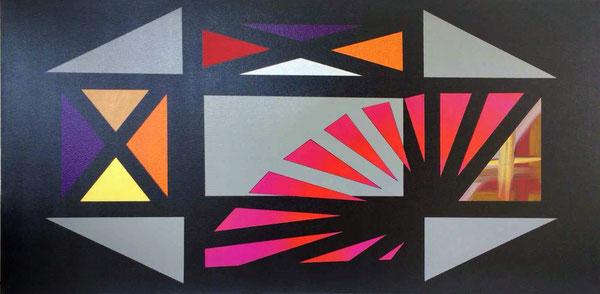 Gradlinige Elemente auf schwarz lackierter Leinwand. 5 graue und 20 farbige gemalte Flächen wirken beruhigende auf den Betrachter.