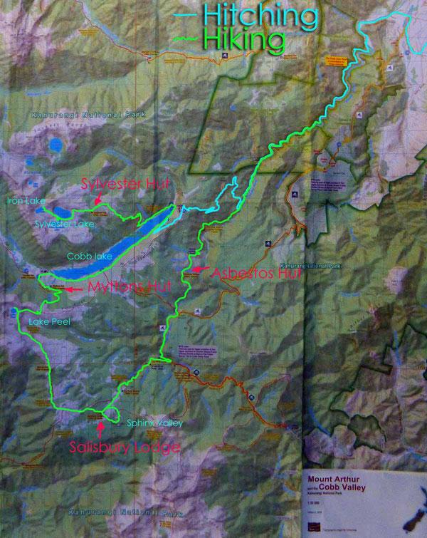 Karte mit eingezeichnetem Streckenverlauf