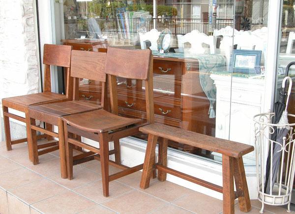 天然チーク木材のヴィンテージ家具