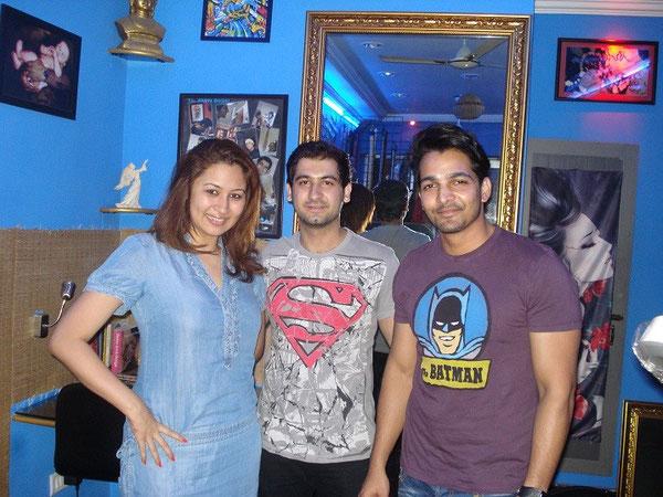 amin with olympic badminton player jwala gutta and tollywood actor harshwardhan rane