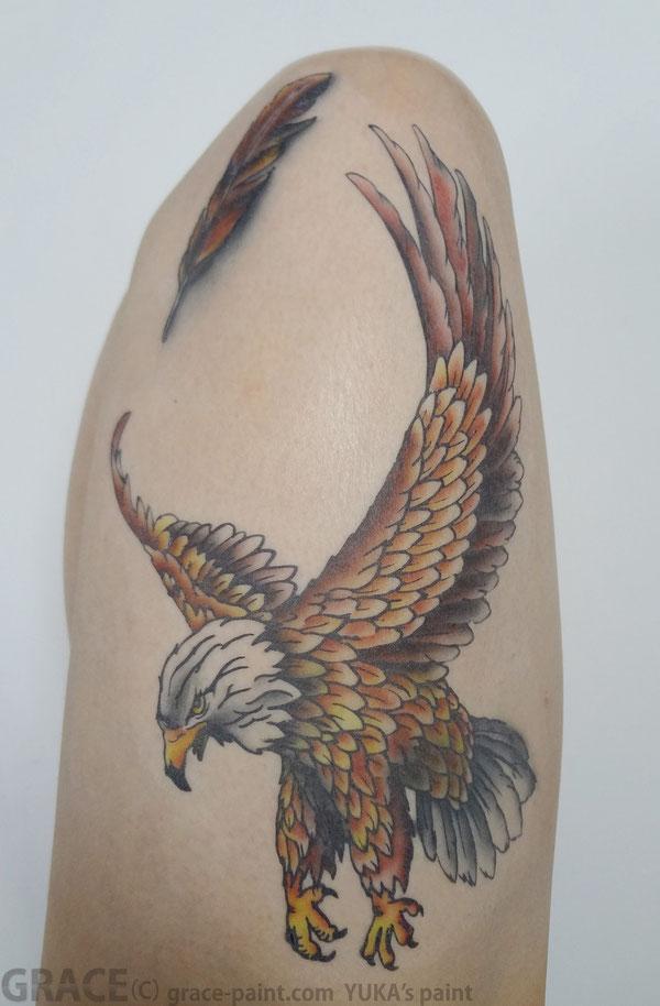 ボディーペイント,フェイクタトゥー,鷹,鷲鳥