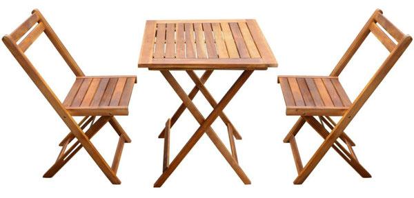 tavolo #sedie #arredo giardino #acacia #2 #due