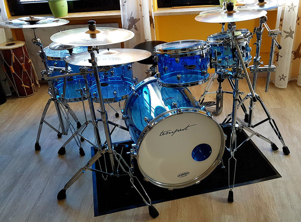 "Tempest Custom Drumset in 20"" 10"" 12"" 14"" 16"" Blue Acrylic"