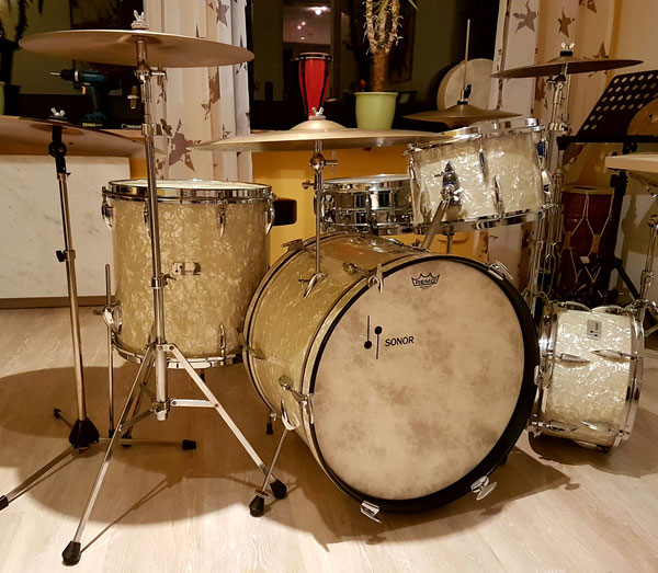"Sonor 1963 & 1969 Teardrop Chicago Star 20""16""13""12"" in White Marine Pearl & D444 Snare"