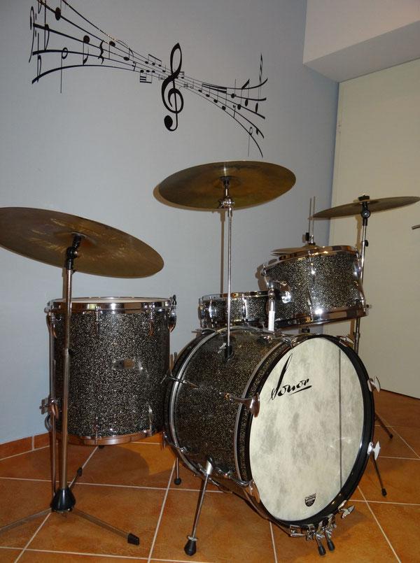 "Sonor Teardrop 1970 in Kristall Schwarz 13"" 16"" 20"" & 14"" Snare"