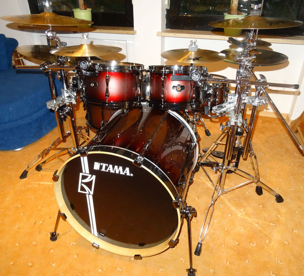 "Tama Hyperdrive 22""10""12""16"" & 14"" Snare in Red Titanium Fade"