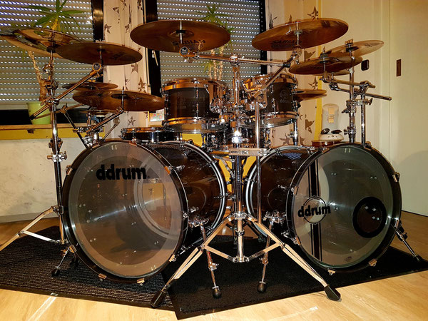 "ddrum/Kirchhoff Diaton in Smokey Clear Acrylic 22"" 20"" 10"" 12"" 14"" 16"""