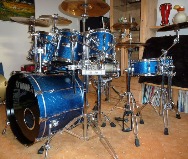 "Yamaha 9000er Recording 90er Jahre 22"" 8"" 10"" 12"" 14"" 15"" rewrapped in Blue Sparkle"