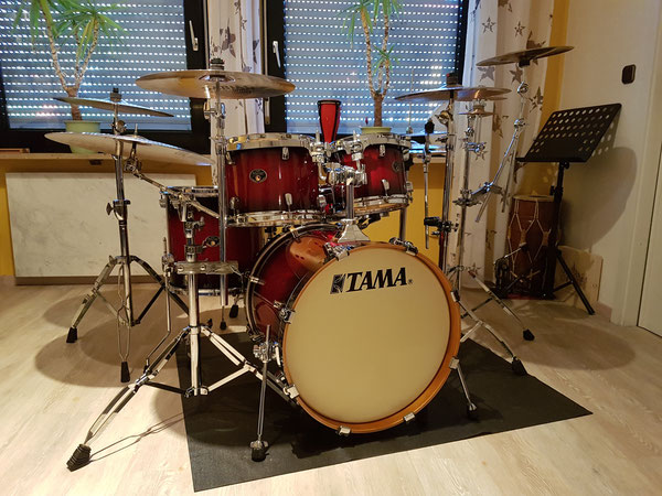 "Tama Silverstar 20""10""12""14 & 14*5 Snare in Antique Brown Burst"