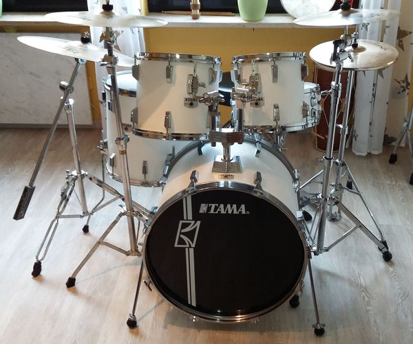"TAMA Rockstar 1990 22"" 10"" 12"" 14"" 16"" in Satin White"