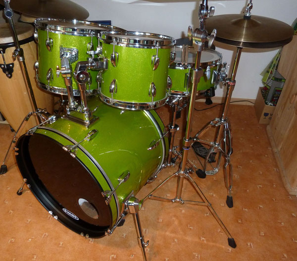 "Basix Concept 20""10""12""14"" & 14"" Snare in Green Lime Sparkle"