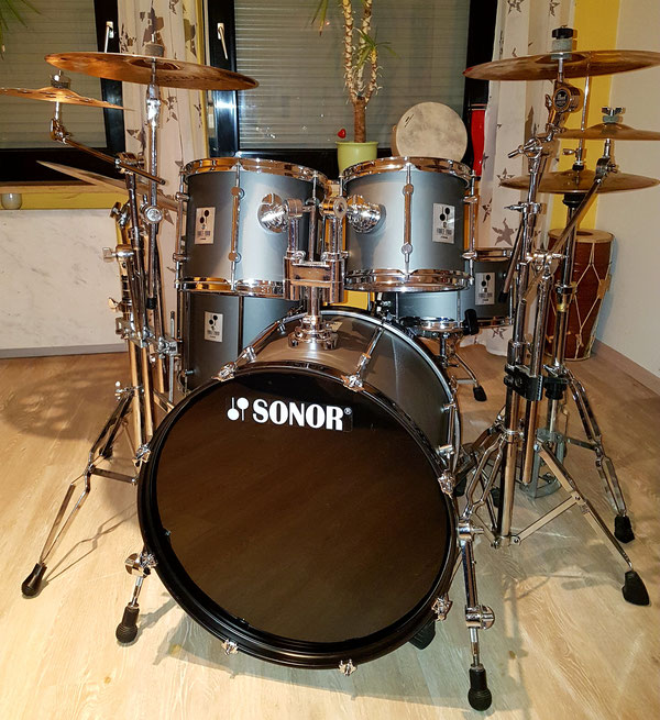 "Sonor Force 2000 in Hi Tech grey 22""10""12""13""16"" & 14"" Snare"