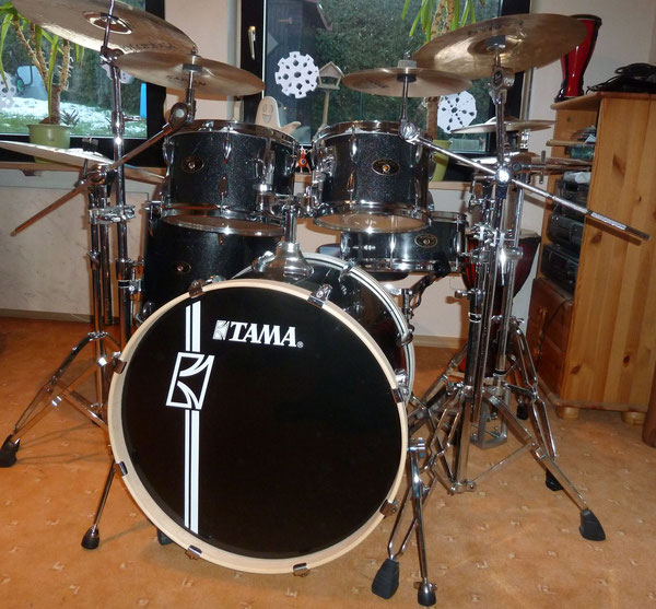 "Tama Imperialstar Hyperdrive in Midnight Mist 22""10""12""16"" & 13"" Snare"
