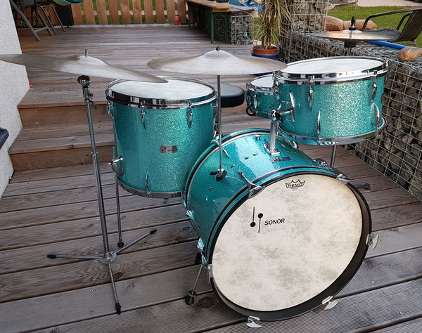 "Sonor Teardrop 1965/66 in Turquoise Sparkle 13""16""20"" & 14"" Snare"