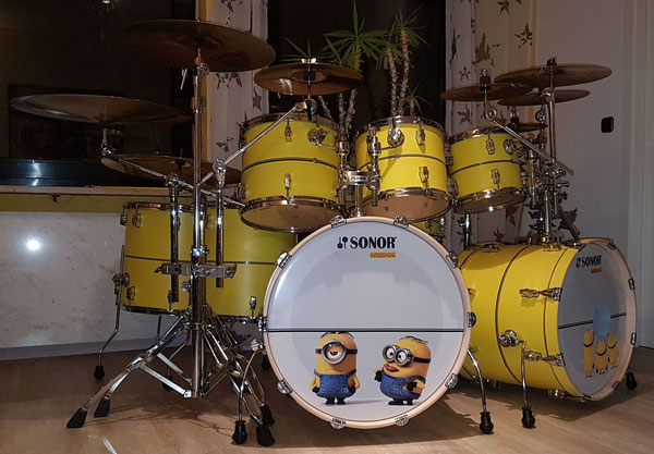 "Sonor Force 3001-2001 22""20""10""12""13""16"" 14x5"" Snare Minions Custom Yellow"