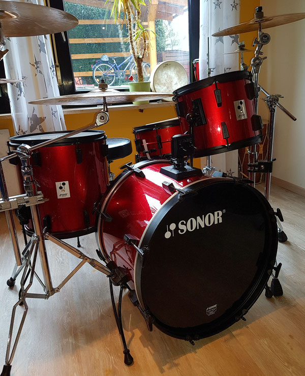 "Sonor Panther 1987 in Metallic Red 22""12""13""16""& 14""Snare"