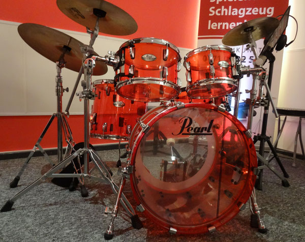 "Pearl Crystal Beat Ruby Red in 20"" 10"" 12"" 14"" & 14"" Snare"