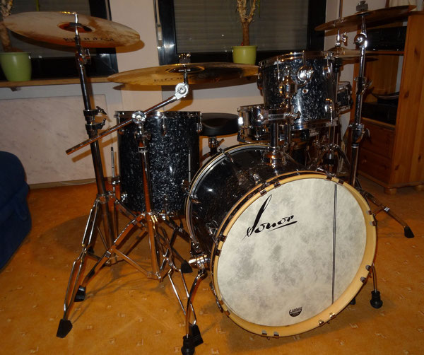 "Sonor 1001 in Charcoal 20"" 10"" 12"" 14"" & 14"" Stahl-Snare"