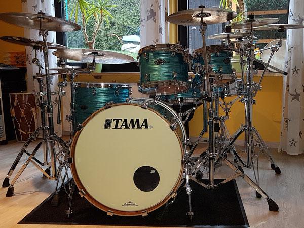 "Tama Starclassic B/B 22"" 10"" 12"" 16"" 13x6"" Snare in Turquoise Ripple Custom"