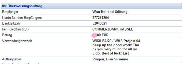 Sogar steuerlich absetzbar in D-land!  Keinen Ausreden mehr:  http://wikileaks.de/Support.html