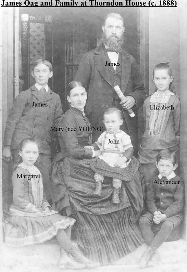The Oag family at Thorndon House in c.1888 (photo : courtesy Valerie Oag)