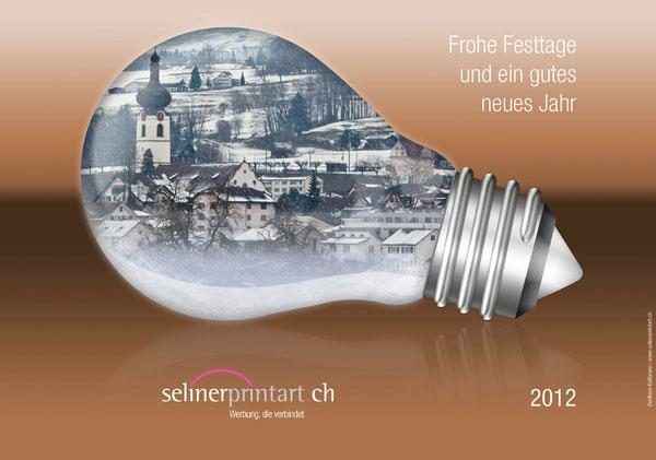 Weihnachten 2012 mit dem Dorfkern der Energiestadt Kaltbrunn