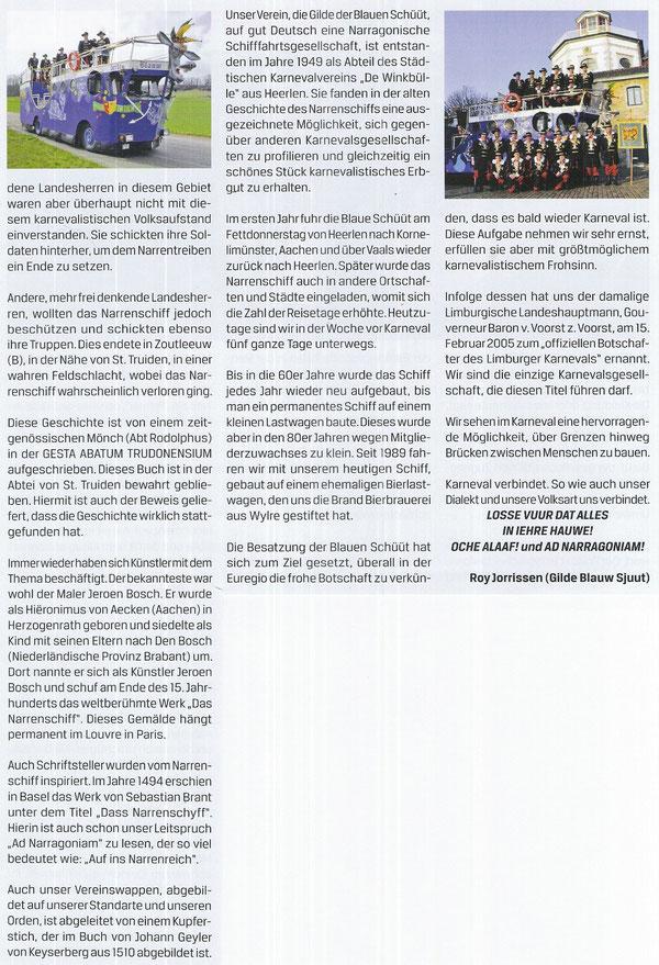 """Die Geschichte der Blauw Sjuut, (aus dem """"Oecher Karnevalsmagazin"""" 02/2011)"""