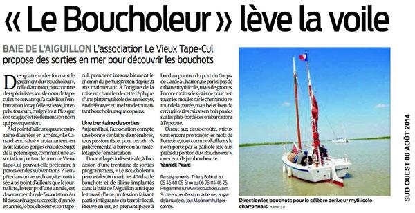 Sud Ouest 08 / 08 /14 Article sur le Boucholeur