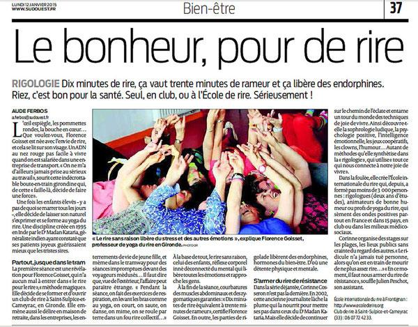 Rigologie dans quotidien Sud Ouest du 12 janvier 2015