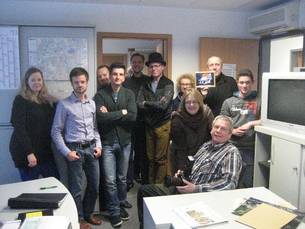 Kevin Nobs im Kreise seiner WAZ-Kolleginnen und WAZ-Kollegen