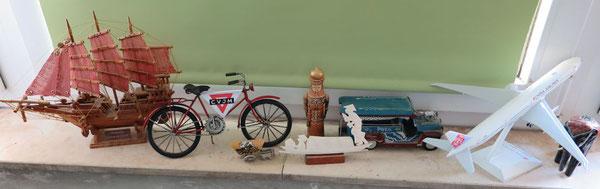 Einen Ehrenplatz hat des CVJM-Fahrrad erhalten - neben einem chinesischen Schiff , einem argentiinischen Planwagen, einem vietnamesischen Ruderboot, einem russischen König für Wandern, einem Cheepny aus den Philippinen, einem Flugzeug und einem Elefanten