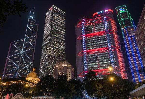 香港 上海銀行 夜景