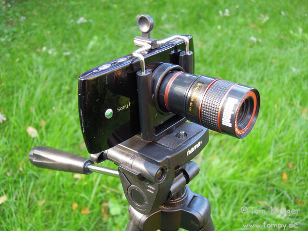 Sony Ericsson Vivaz, 8.1 megapixel, 1:2.8 f=4.6mm + Bushnell 8x telescope f=1.1 + Tripod mount