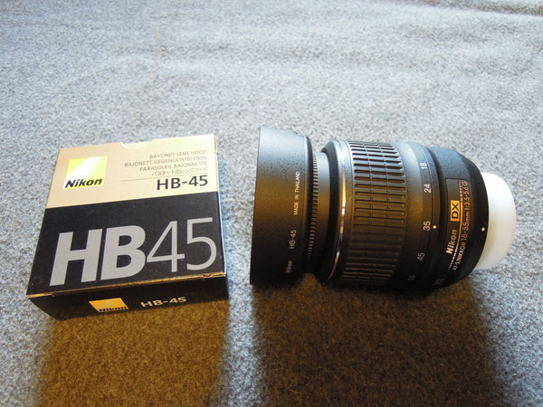 Nikkor AF-S DX 18-55 1:3,5-5,6G VR, Nikon HB-45