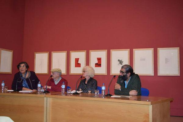 Emilia Oliva (Comisaria), José Antonio Cáceres (poeta), Elisabeth Slavkoff (artista) y Antonio Gómez (poeta)