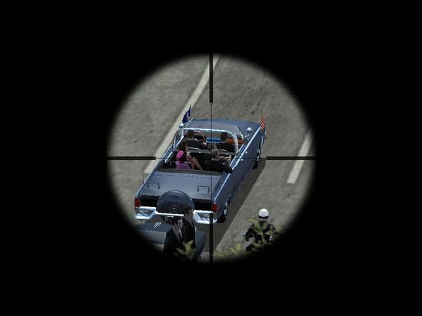 Moment où, d'après les partisans de la fusillade de 5,6 secondes, la première balle fut tirée et atteignit le président. La vision qu'en a le tireur est claire et dégagée.