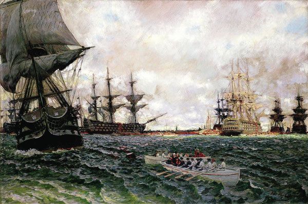 Howard Pyle painting, Evacuation of Charleston, 1782