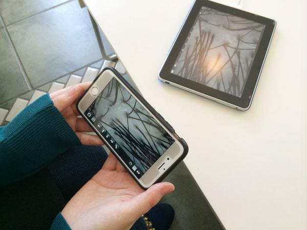 サロンのタブレットと同時にお客様のスマホにも画像の表示と保存が可能です!(要アプリダウンロード)